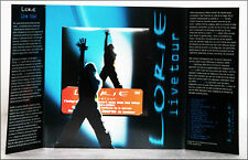"""Dépliant DVD promo collector LORIE """"Live Tour"""", format 20 X 40 cm ouvert."""