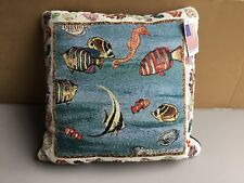 """USA NWT Bradley Clark Coral Reef Knife Edge 17"""" x 17"""" Tapestry Throw Pillow #412"""