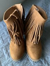 Womens Mossimo Brown Fringe Boots Size6 Side Zipper High Heels Textile Leather