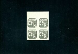 LOT 82256 MINT NH P18 IMPERF BLOCK NEWSPAPER STAMPS SLOVAKIA