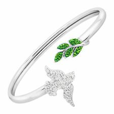 Crystaluxe Dove & Leaves Cuff Bracelet with Swarovski Crystals, Sterling Silver