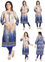 UNIFIEDCLOTHES® WOMEN INDIAN COTTON KURTA KURTI TUNIC TOP SHIRT SC1101 BLUE