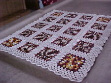 """NEW HAND CROCHET GRANNY SQUARE AFGHAN THROW BLANKET 40""""x 35"""" TAN & ASST. COLORS"""