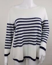 Ann Taylor Loft Womens Sweater Size Medium Think Knit Striped White Blue Long Sl