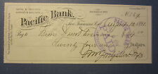 Old 1891 - PACIFIC BANK - San Francisco CA. - BANK CHECK Document