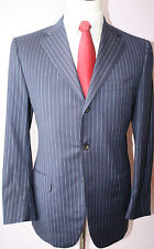 Eredi Pisano Blue Striped Wool Three Button Side Vented Suit 38 R 35 31 Flat