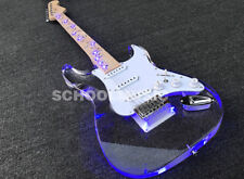 LED Light Strat Electric Guitar Acrylic Body Crystal Guitar Blue Vine Inlay