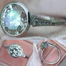 Vintage & Antique Fine Engagement Ring 2.7 Ct Round Diamond 14K White Gold Solid