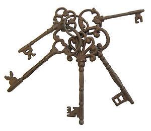 Set of Five Large Antique Style Replica / Reproduction Cast Iron Keys