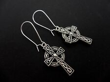 A PAIR OF  CELTIC CROSS EARRINGS ON SILVER PLATED KIDNEY EAR WIRES. NEW.