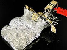 New Mens White Gold Finish Xl Money Bag Canary Diamond Pendant