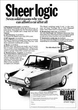 RELIANT REGAL 3 WHEELER RETRO POSTER A3 PRINT FROM 70'S ADVERT