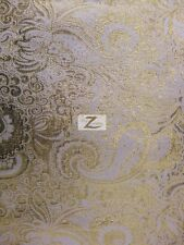 """JAKARTA LAME FABRIC  - White/Gold - 60"""" WIDTH SOLD BY THE YARD LAME TISSUE"""
