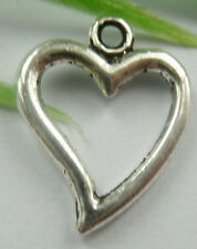 Wholesale free ship 260pcs tibet silver heart charms 19x15mm