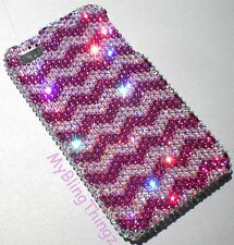 PINK ZIG ZAG 12SS Crystal Bling Back Case for iPhone 5 5S w/ Swarovski Elements