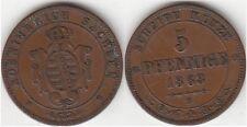 Monnaie en cuivre 5 Pfennige 1863 B région Saxe (Allemagne)