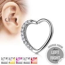 HEART GEM Stud HOOP Cartilage Helix Daith Rook Tragus Snug EAR Rings PIERCINGS