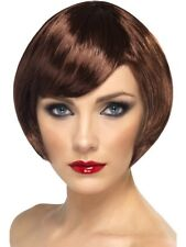 Brown Babe Wig Short Bob with Fringe Adult Womens Smiffys Fancy Dress Costume