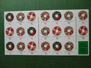 Scott #3249-3252 GREETINGS WREATH MNH Booklet of 20 US 32$ Stamps 1998