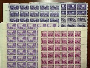 US #802,835,836,925,926 1937-1944 3c Comm. 5 Full Sheets.  MNH F (BCV $117)