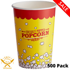 500 Pack 46 Oz Yellow Popcorn Cups Round Paper Watch Movie Theater Concession