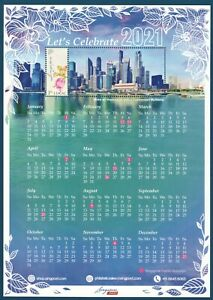 SINGAPORE 2020 LET'S CELEBRATE 2021 MYSTAMP CALENDAR SHEET OF 1 STAMP IN MINT NH