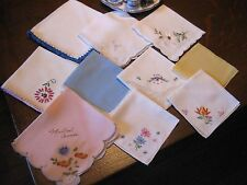 Lot of 10 Antique/Vintage EMBROIDERY APPLIQUE LACE CROCHET Hankies HANDKERCHIEFS