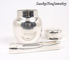 Rare Vintage Tiffany & Co Sterling Silver Jar Pill Box with Tongs