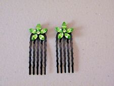 Two Small Green Jewel Flower Hair Combs