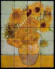 16x20 Sun Flower Backsplash Mural Tumbled Marble Tiles Kitchen Ideas Van Gogh