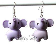 Créa : Original & Unique ! Boucles d'Oreille ELEPHANT Violet Mauve en gomme