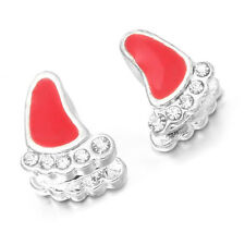 50x Wholesale Rhinestone Footprint Alloy Red Enamel Charms Beads Fit Bracelets L