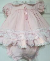 Vintage Ester ALEXIS Baby Girl's pink  Dress Lace Trim 6 Months 2p 13-16 lbs