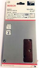 BOSCH 115 x 230 mm 120g 120 GRIT velcro Levigatura Fogli per legno e metallo-Confezione da 10