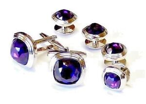 Amethyst Faceted Soft Square Double Tier Silver Trim Studs and Cufflinks