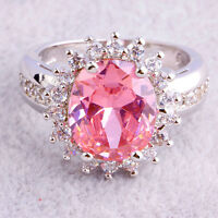 Wedding Band Jewelry Pink & White Topaz Gemstone Women Engagement Silver Ring