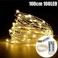 10M 100 LED Lichterkette Kupferdraht Weihnachten Außen Beleuchtung USB Warmweiß