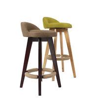 MODERN KITCHEN COUNTER SWIVEL BREAKFAST BAR STOOL SEAT CHAIR WOODEN LEGS