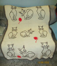 Vintage CRAZY CAT LADY Crochet Afghan Embroidered Cats 48x75