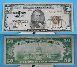 1929 The Federal Reserve Bank of Kansas City  $50 National Currency FR# 1880-J