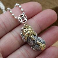 Solid 925 Sterling Thai Silver Pendant Money Lucky Animal Pi Xiu Men's Women's