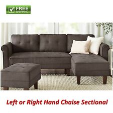 Reversible Sectional Sofa Grey Microfiber Chaise Couch Living Room Furniture New
