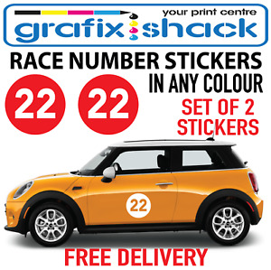 RALLY NUMBER STICKERS 2x 180mm ROUND SHAPE FOR CLASSIC CARS DOORS BONNET BOOT