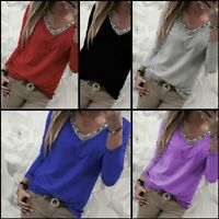 V Neck Pullover T-Shirt Jumper Loose Womens Tops Casual Solid Long Sleeve