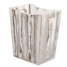 Wastebaskets Wood Square Bin Durable Garbage Can Waste Basket for Bathroom