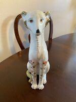 Vtg Ceramic Art Pottery Greyhound Dog Art Statue Hand Painted Flowers Figurine