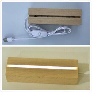 Wooden Led Lamp Base USB Cable Switch Night Light 3D Led Night Lamp Base