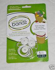 3 pc Garbage Bandz Gripper Reusable Trash Bag Can Liner Rubber Bands Large Small