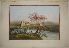 Stampa antica old print Benoist Roma Ponte Nomentano Monte Sacro gravure 1870