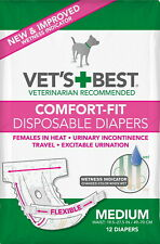 Vet's Best Female Dog Diapers w/Tail-Hole, Comfort-Fit Disposable, Medium, 12ct